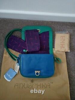 Womens Anuschka Leather Hand Painted Two For Joy 14001-TFJ Cross Body Handbag