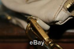 $ 2298prada Biege Tan Leathershoulder Sac Bourse Boucle D'or Crossbody Fourre-tout