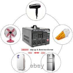 3000w Voltage Converter Transformer Heavy Duty Step Up 110v-230v/230v-110v