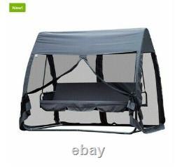 3 Sièges Swing Hammock Bed Heavy Duty Garden Bench Patio Grey Avec Mesh Wall 2-en-1
