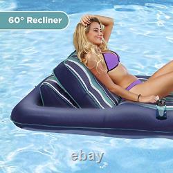 Aqua Premium Convertible Pool Lounger, Flotteur De Piscine Gonflable, Poids Lourd, 74