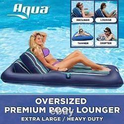 Aqua Premium Convertible Pool Lounger, Flotteur De Piscine Gonflable, Poids Lourd, X