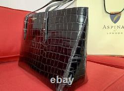 Aspinal Of London Black Croc Leather Large Regent Tote Bag Rrp 425,00 £ + Sac Cadeau