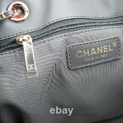 Auth Chanel 2020 Sachet De Seau À Cordons D'agneau Gris CC