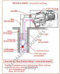 Convertible Deep Well Jet Pump, 1 HP 115 / 230v, Max 82 Pieds Lourds En Fonte