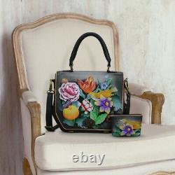 Femme Anuschka Cuir Peint À La Main Vintage Bouquet Travels Cross Body Sac À Main