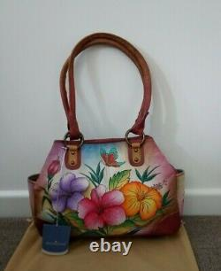 Femme Anuschka Leather Painted Hawaiian Hibiscus Satchel Shoulder Sac À Main