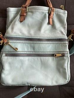 Fossil Explorer Cuir Pliure Corps Transformable Messenger Bag Mint Aqua