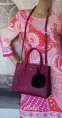 Furla Sac À Main Italie Amina Wine Tote Avec Rabbit Bubble Charm Brand Nouveau