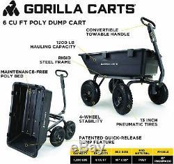 Gorilla Chariots Gor6ps Robuste Poly Cour Dump Panier Avec 2-en-1 Pull Convertible