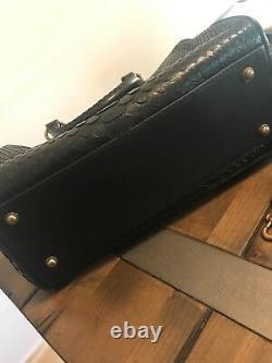 Kendall Conrad Black Matte Narcisa Peau De Serpent Avec Garniture En Cuir Napa