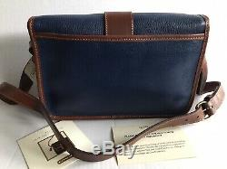 Nwt Vintage Coach Sheridan Cuir Bleu Marine / Britannique Sac Tan Purse 4225 USA