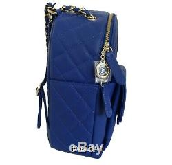 $ Solde! Chanel Bleu Sac À Dos Jour Caviar CC Or Hw Medium Nouveau Voyage Classique Bnib